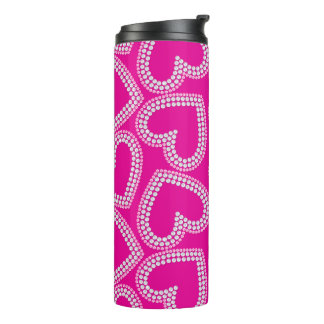 Sequin hearts thermal tumbler