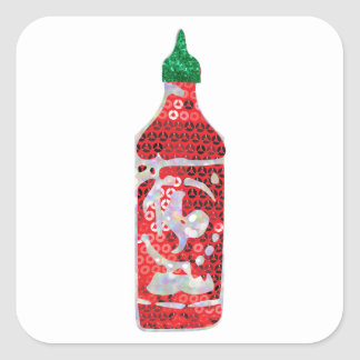 sequin hot sauce square sticker