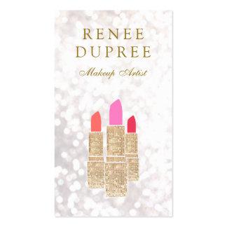 Sequin Lipstick Makeup Artist Beauty Salon Bokeh Pack Of Standard Business Cards