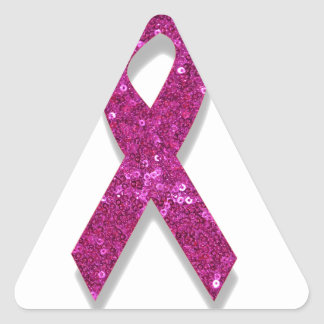 sequin pink breast cancer awareness triangle sticker