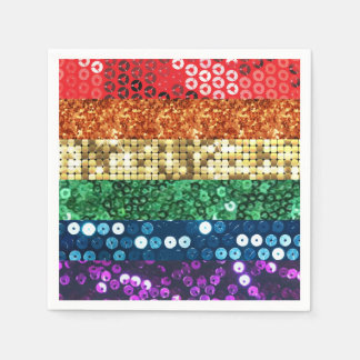sequin pride flag paper napkins