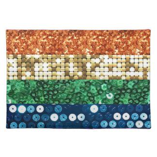 sequin pride flag placemat
