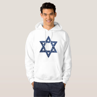 sequin star of david mens hooded hoodie sweatshirt