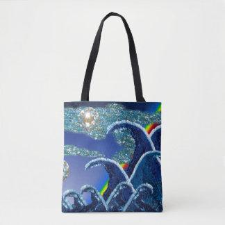 Sequin Waves Surf Art Print Beach Bag
