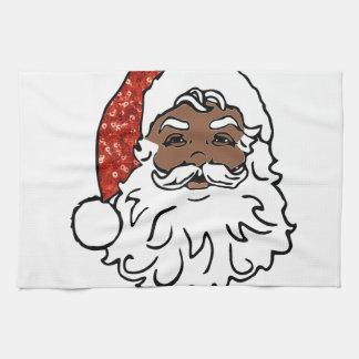 sequins black santa claus kitchen towel