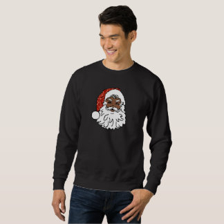 sequins black santa claus mens sweatshirt
