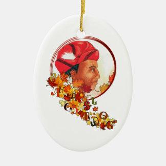 "Sequoyah & the Cherokee Syllabary ""Talking Leaves"" Ceramic Ornament"