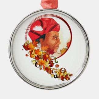 "Sequoyah & the Cherokee Syllabary ""Talking Leaves"" Metal Ornament"
