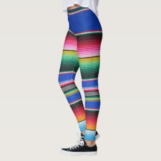 Serape pattern leggings bold Lapis blue stripe