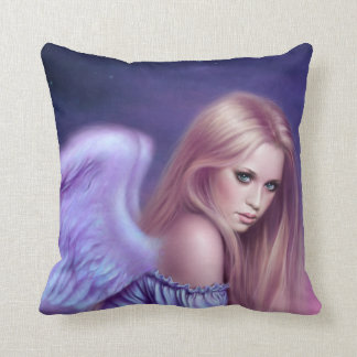 Seraphina Guardian Angel Art Pillow Blue & Purple