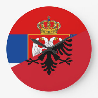 serbia albania flag country half symbol large clock