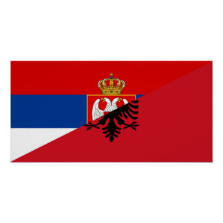 serbia albania flag country half symbol poster