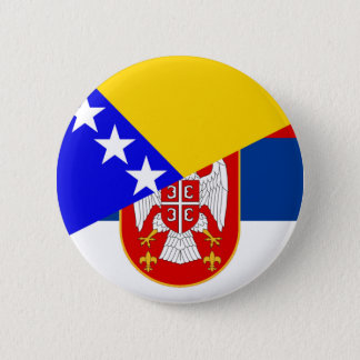 serbia bosnia Herzegovina flag country half symbol 2 Inch Round Button