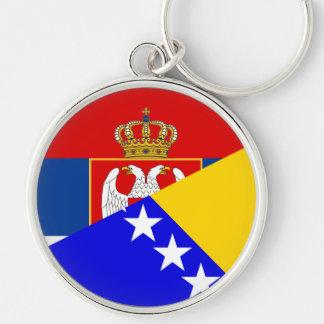 serbia bosnia Herzegovina flag country half symbol Keychain