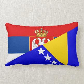serbia bosnia Herzegovina flag country half symbol Lumbar Pillow