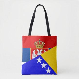 serbia bosnia Herzegovina flag country half symbol Tote Bag