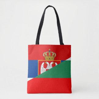 serbia bulgaria flag country half symbol tote bag