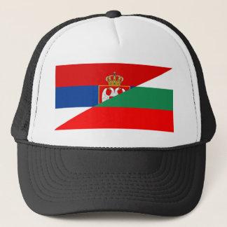 serbia bulgaria flag country half symbol trucker hat