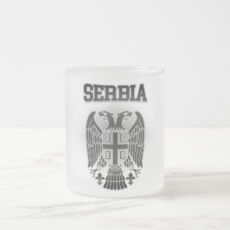 Serbia Coat of Arms Frosted Glass Coffee Mug