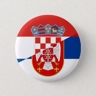 serbia croatia flag country half symbol 2 inch round button