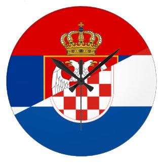 serbia croatia flag country half symbol large clock