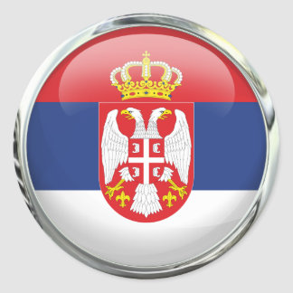 Serbia Flag Glass Ball Classic Round Sticker