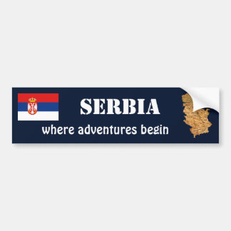 Serbia Flag + Map Bumper Sticker