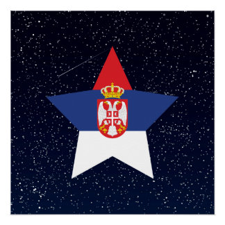 Serbia Flag Star In Space Poster