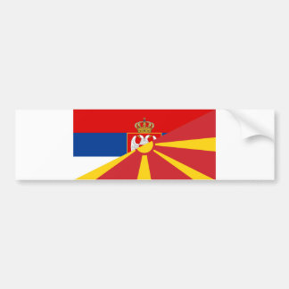 serbia macedonia flag country half symbol bumper sticker