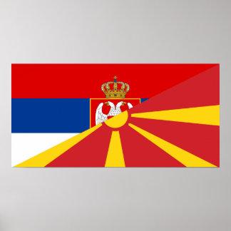 serbia macedonia flag country half symbol poster