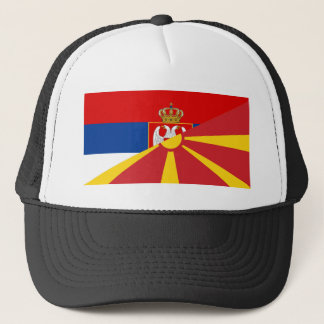 serbia macedonia flag country half symbol trucker hat