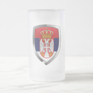 Serbia Metallic Emblem Frosted Glass Beer Mug