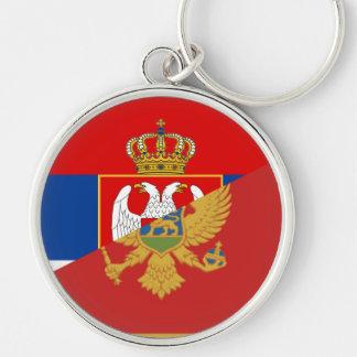 serbia montenegro flag country half symbol keychain