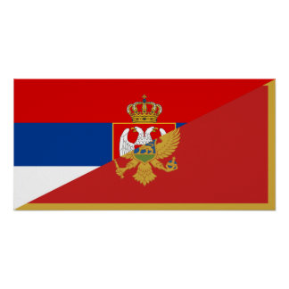 serbia montenegro flag country half symbol poster