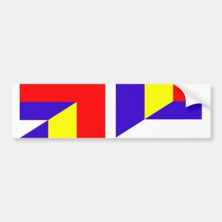 serbia romania flag country half symbol bumper sticker