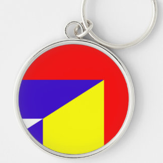 serbia romania flag country half symbol keychain