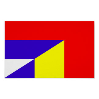 serbia romania flag country half symbol poster