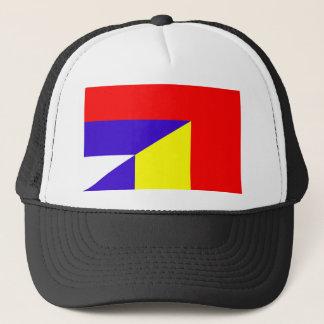 serbia romania flag country half symbol trucker hat