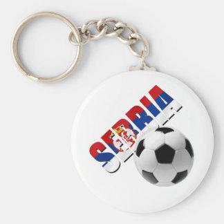 Serbia soccer ball Serbian flag worded logo Keychain