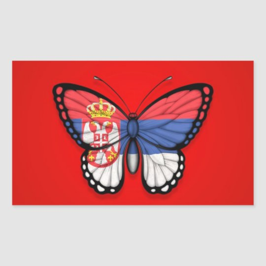 Serbian Butterfly Flag on Red Sticker