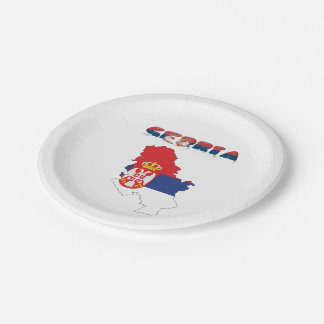 Serbian country flag paper plate