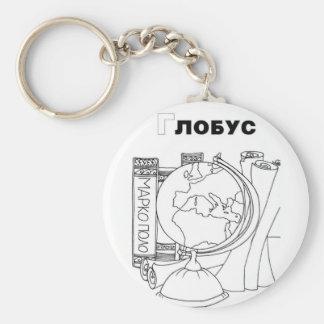 serbian cyrillic globe basic round button keychain