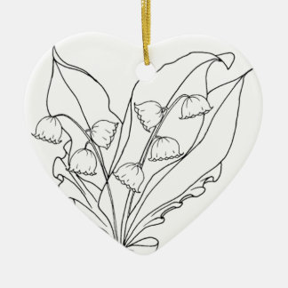 serbian cyrillic lily of the valley ceramic heart ornament