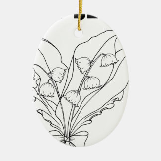 serbian cyrillic lily of the valley ceramic oval ornament