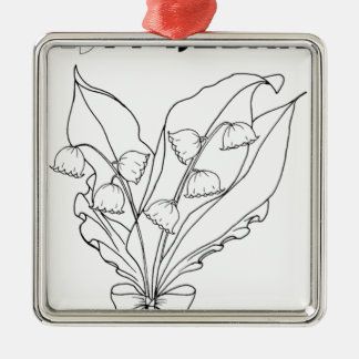 serbian cyrillic lily of the valley Silver-Colored square ornament