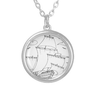 serbian cyrillic sailboat 1 silver plated necklace