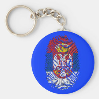 Serbian fingerprint DNA Serbia pride gifts Basic Round Button Keychain