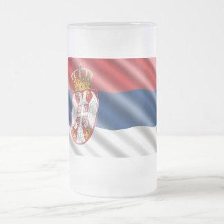 Serbian flag frosted glass beer mug