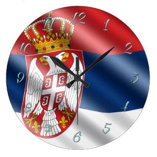 Serbian flag large clock