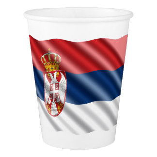 Serbian flag paper cup